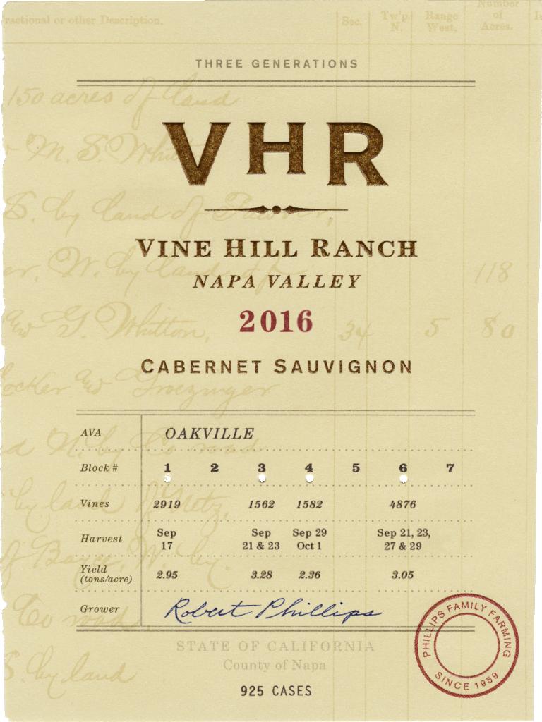 Vine Hill Ranch, Napa Valley, 2016 Cabernet Sauvignon wine label